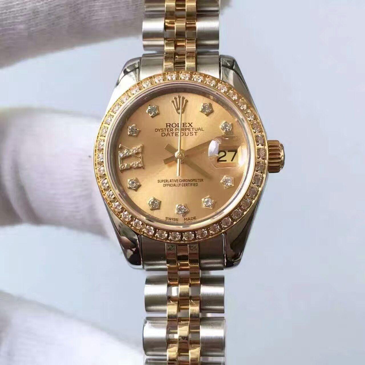 【台湾厂顶级复刻手表】劳力士女装日志型系列279383RBR香槟色表盘女士腕表