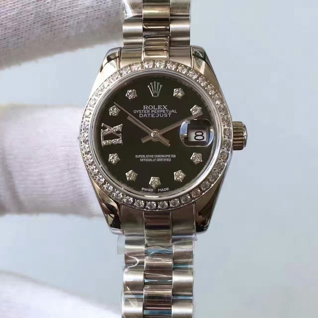 【台湾厂一比一复刻手表】劳力士女装日志型系列黑色表盘腕表