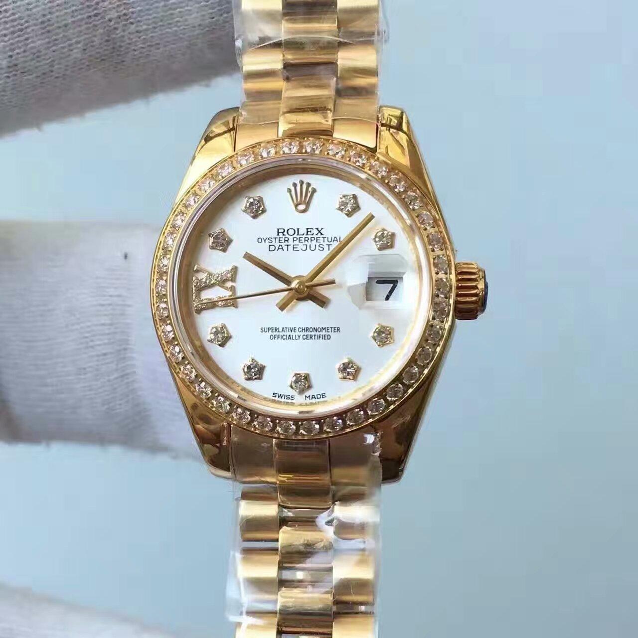【台湾厂一比一高仿手表】劳力士女装日志型系列白色表盘女士腕表