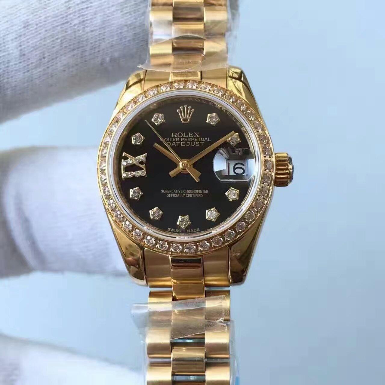 【台湾厂一比一复刻手表】劳力士女装日志型系列黑色表盘女士腕表