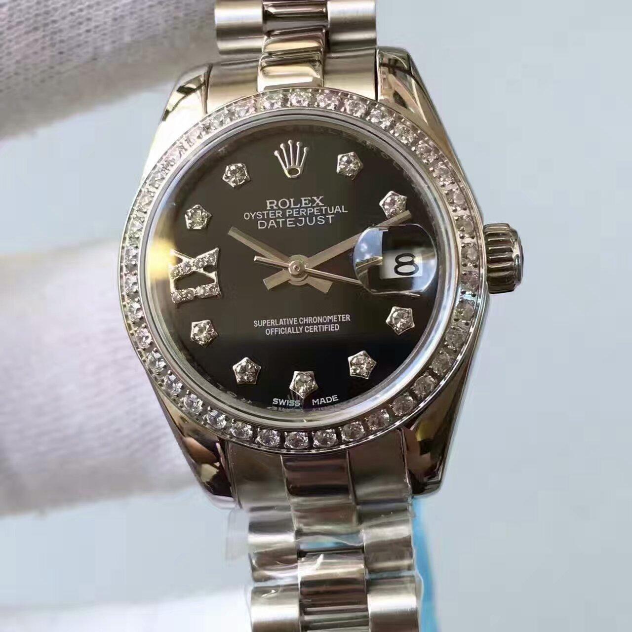 【台湾厂一比一复刻手表】劳力士女装日志型系列黑色表盘腕表 / R148