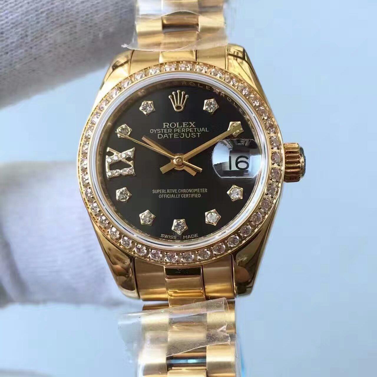 【台湾厂一比一复刻手表】劳力士女装日志型系列黑色表盘女士腕表 / R150