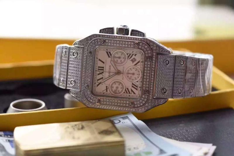 【视频解析】V6厂出品卡地亚山度士W20090X8满钻土豪款腕表 / 卡地亚山度士满钻土豪款