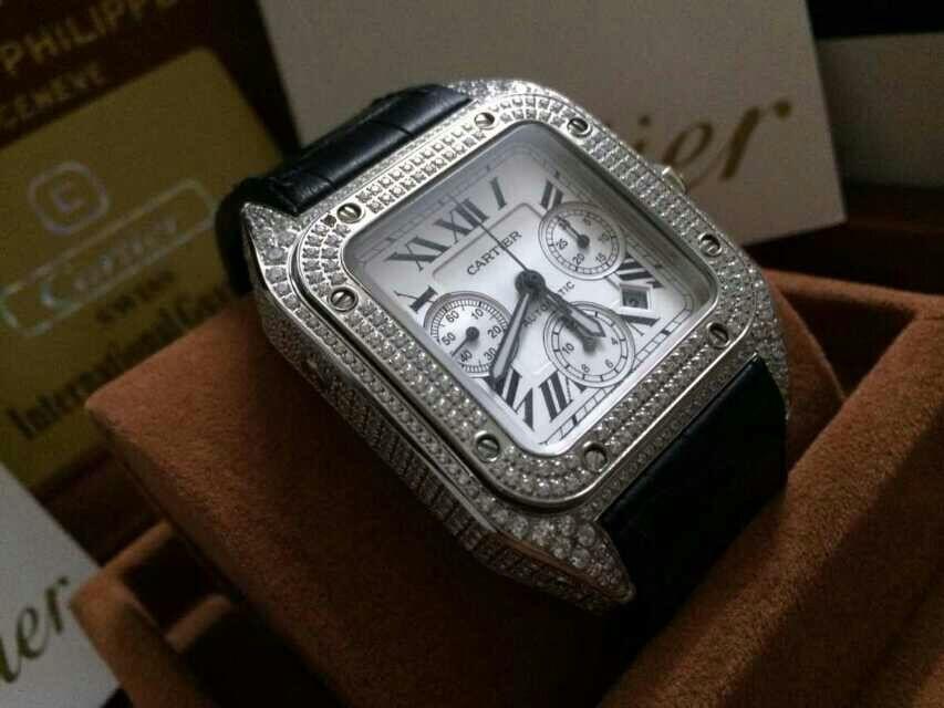 【视频解析】V6厂出品卡地亚山度士W20090X8满钻土豪款腕表