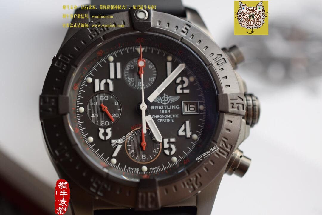 【实物图鉴赏】NOOB厂1:1复刻手表之百年灵复仇者系列黑钢表壳黑色表盘橡胶表带腕表