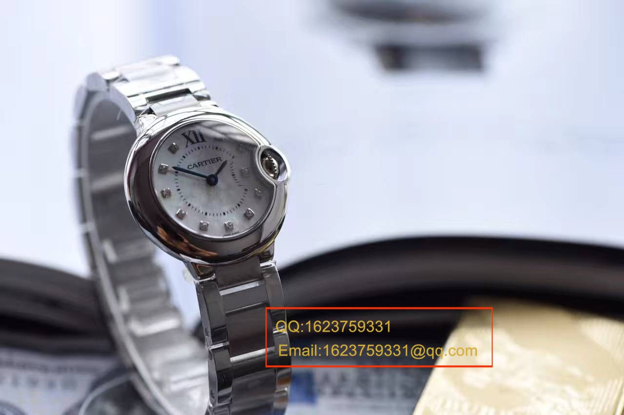 【独家视频测评HBBV6厂一比一超A高仿手表】卡地亚蓝气球小号 28毫米女士石英贝母面腕表