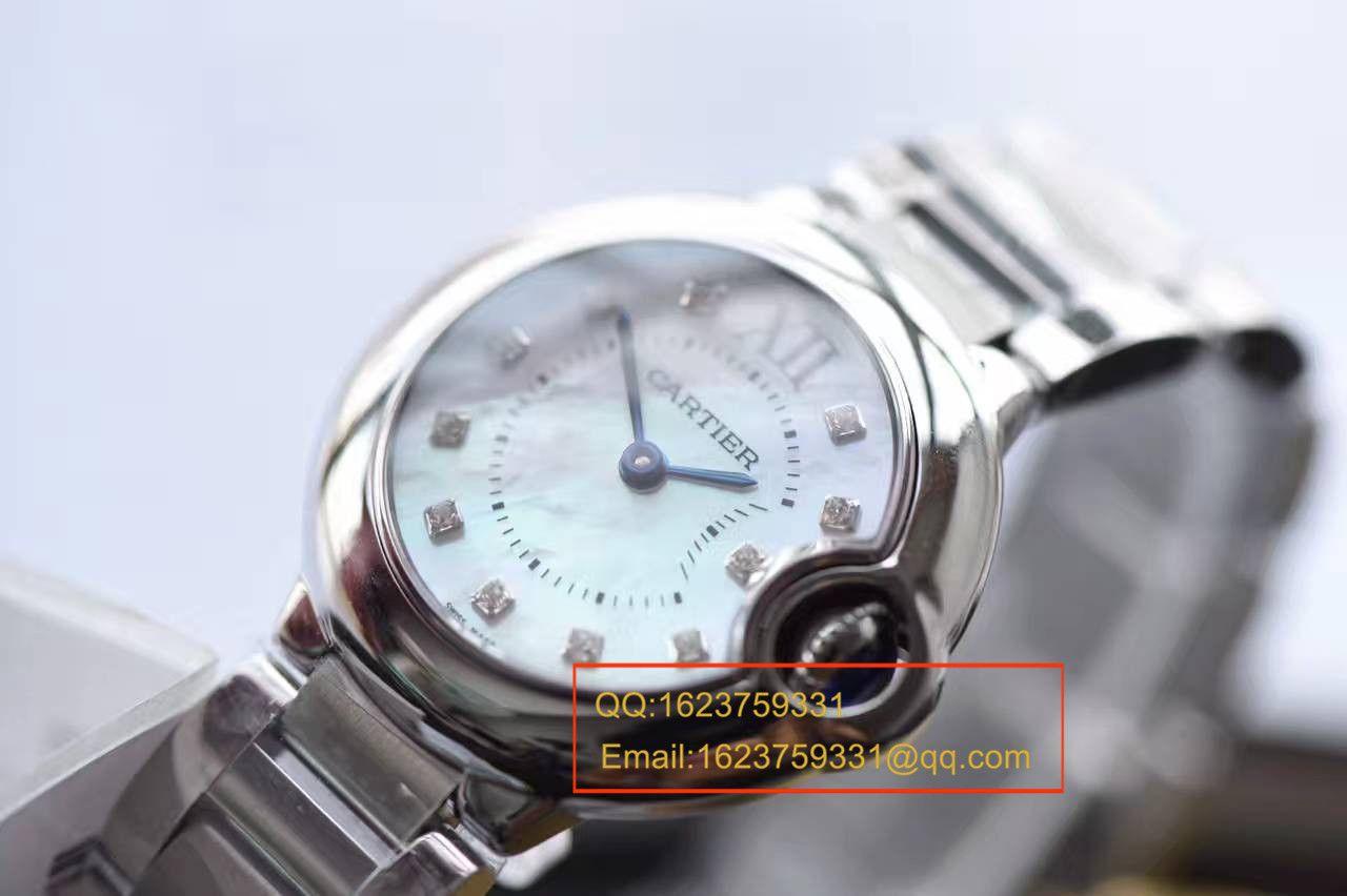 【独家视频测评HBBV6厂一比一超A高仿手表】卡地亚蓝气球小号 28毫米女士石英贝母面腕表 / K123