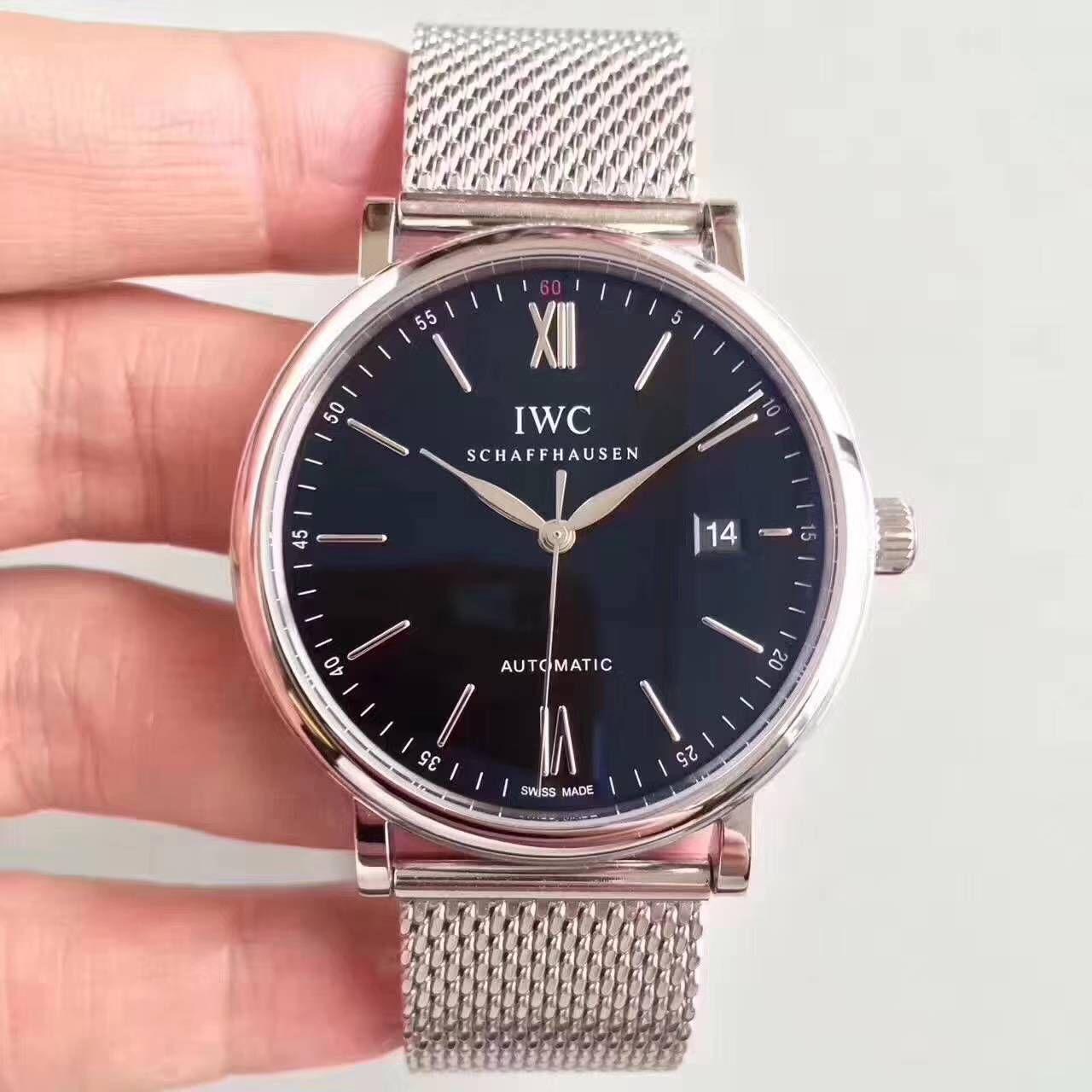 【独家视频测评MK厂1:1超A高仿手表】万国柏涛菲诺系列IW356506精钢米兰表带腕表 / WG273