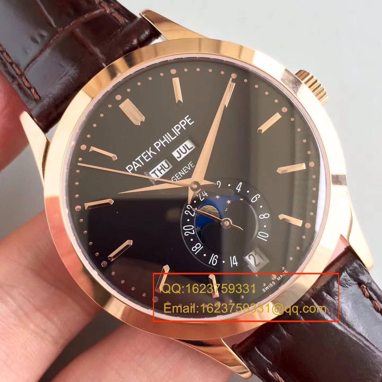 【台湾厂1:1超A高仿腕表】百达翡丽复杂功能计时系列5396/1R-001 月相皮带款玫瑰金腕表