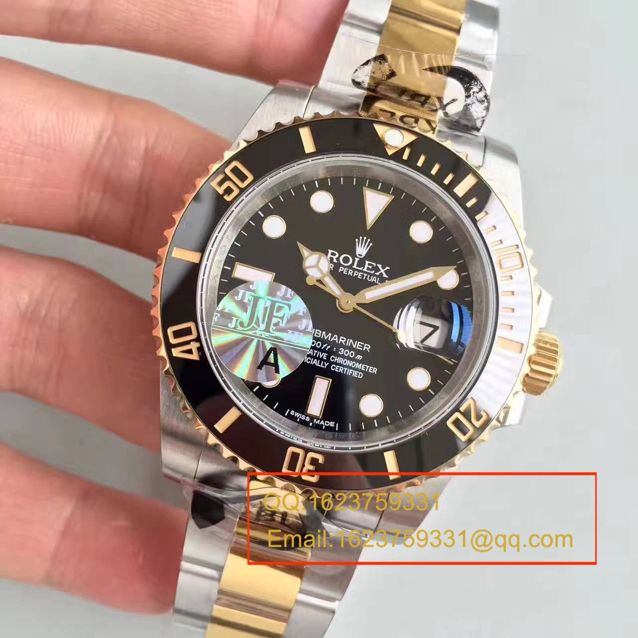 【JF厂一比一超A高仿手表】劳力士潜航者型系列116613-LN-97203间金水鬼腕表 / RBG029