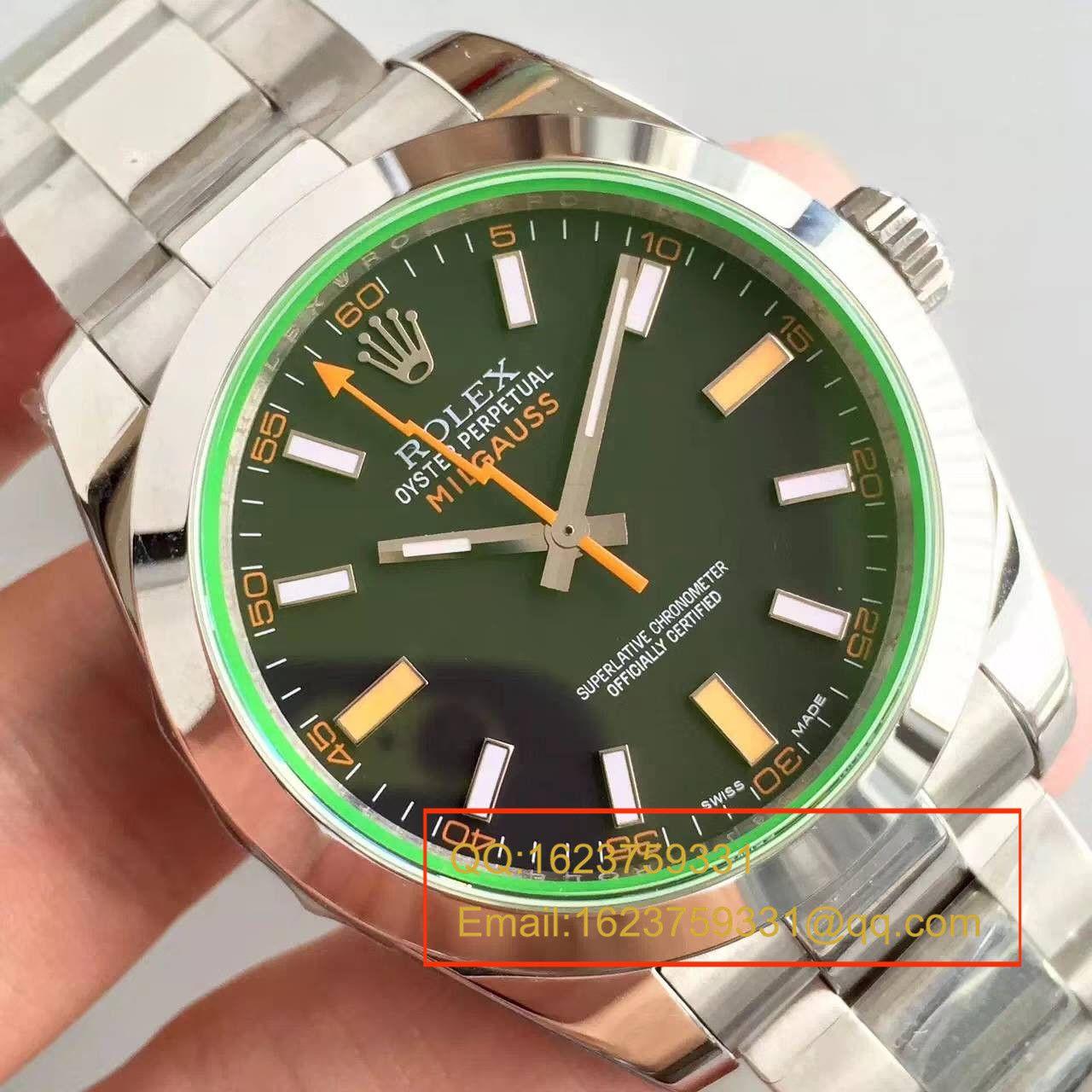 【JF厂1:1高仿手表】劳力士MILGAUSS系列116400-GV-72400黑盘腕表《黑色闪电》 / R002