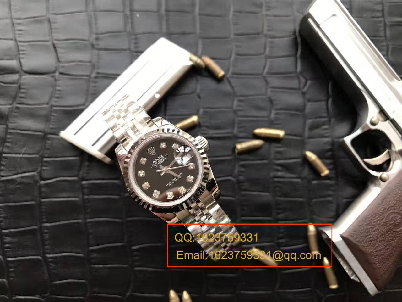 【台湾厂顶级复刻手表】劳力士女装日志型系列179174黑盘镶钻女士腕表 / RB0170