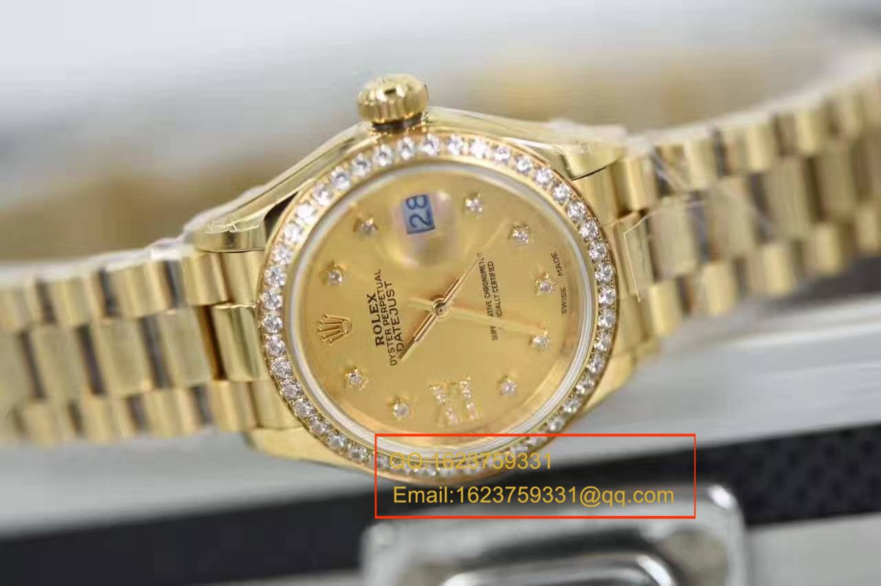 【SY厂1:1超A高仿手表】劳力士女装日志型系列279138RBR香槟盘腕表 / RB0184