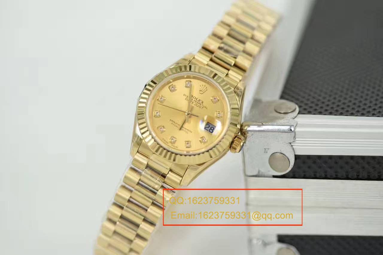 【SY厂一比一顶级复刻手表】劳力士女装日志型系列279178香槟色镶钻腕表 / R185