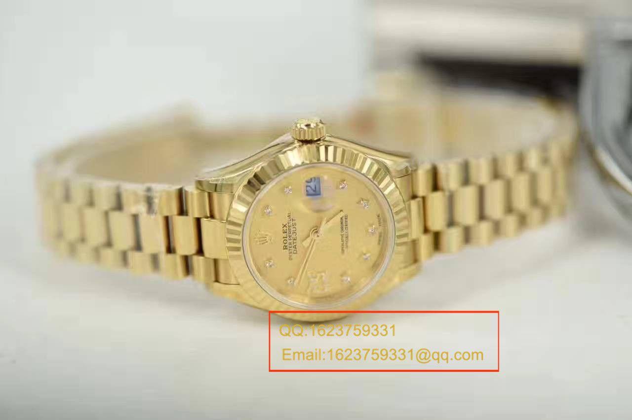 【SY厂一比一超A高仿手表】劳力士女装日志型系列279178香槟色女士腕表 / RB0126A