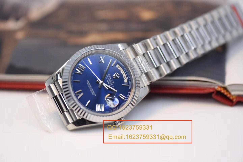 【视频评测NOOB厂一比一高仿】劳力士星期日历型系列228239蓝盘男士机械手表 / RBE068