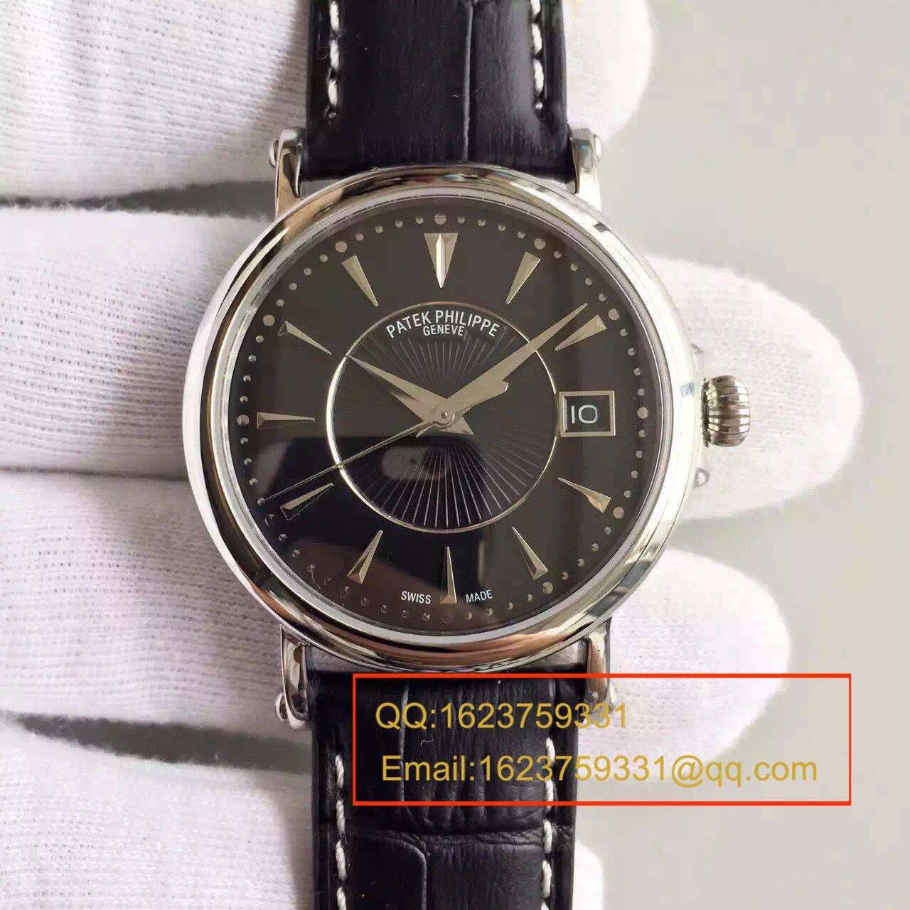 【HT一比一超A高仿手表】百达翡丽Calatrava 系列白金黑面男表5153G-001