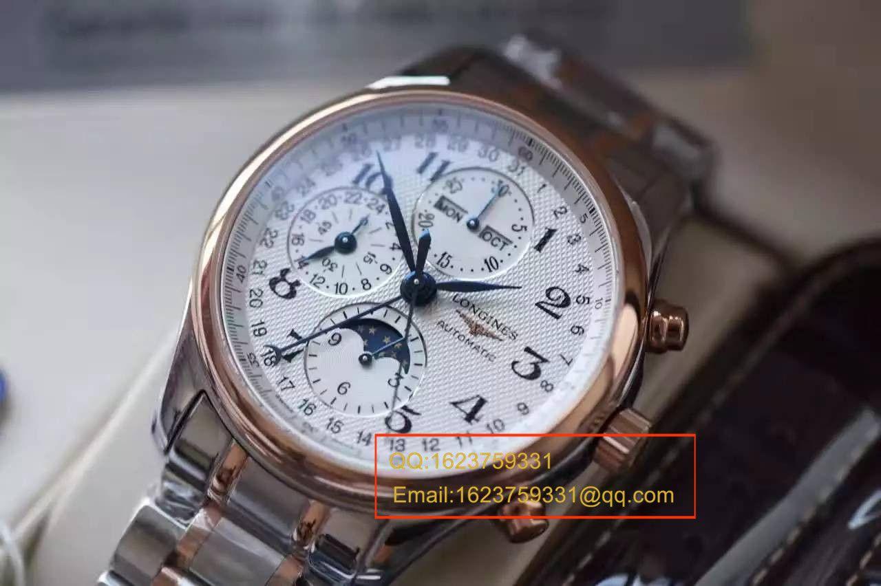 【视频评测YL厂1:1超A高仿手表】浪琴LONGINES名匠系列L2.673.8.78.3月相腕表《间金表带》 / LQ022