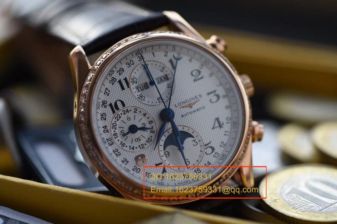 【视频解析】浪琴名匠旗舰版本八针月相土豪金版本腕表《表圈镶钻》 / L066
