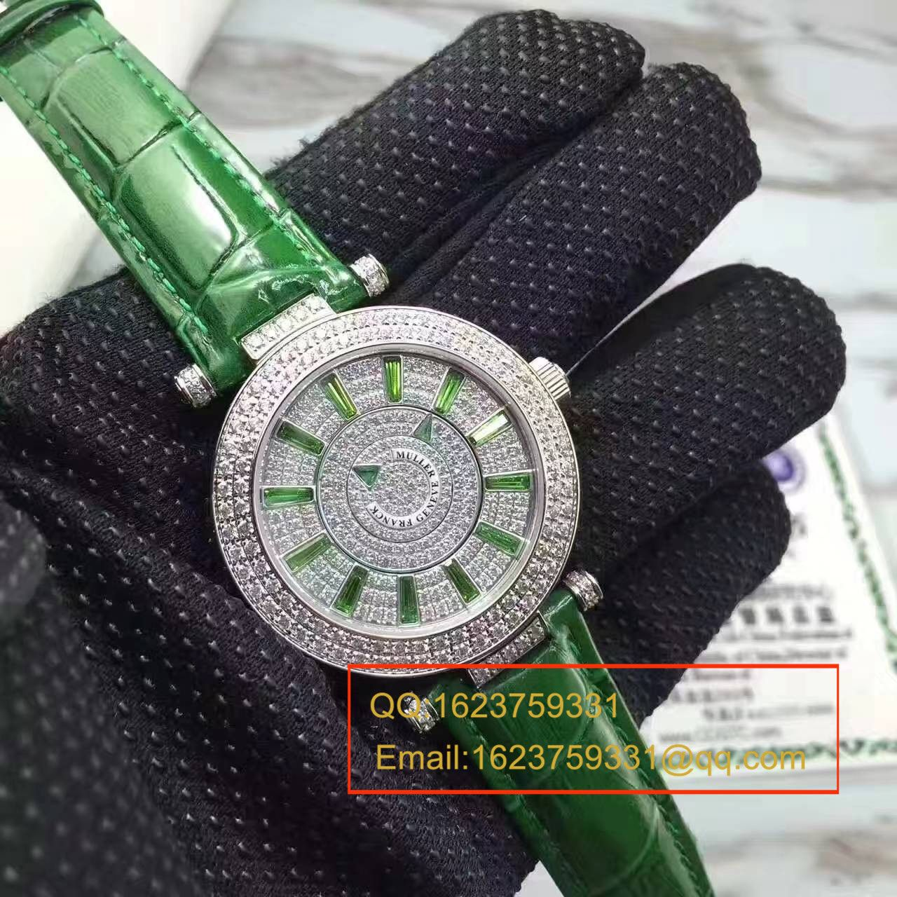 法兰克.穆勒DOUBLE MYSTERY系列42 DM D2R CD 白盘绿色表带女士腕表