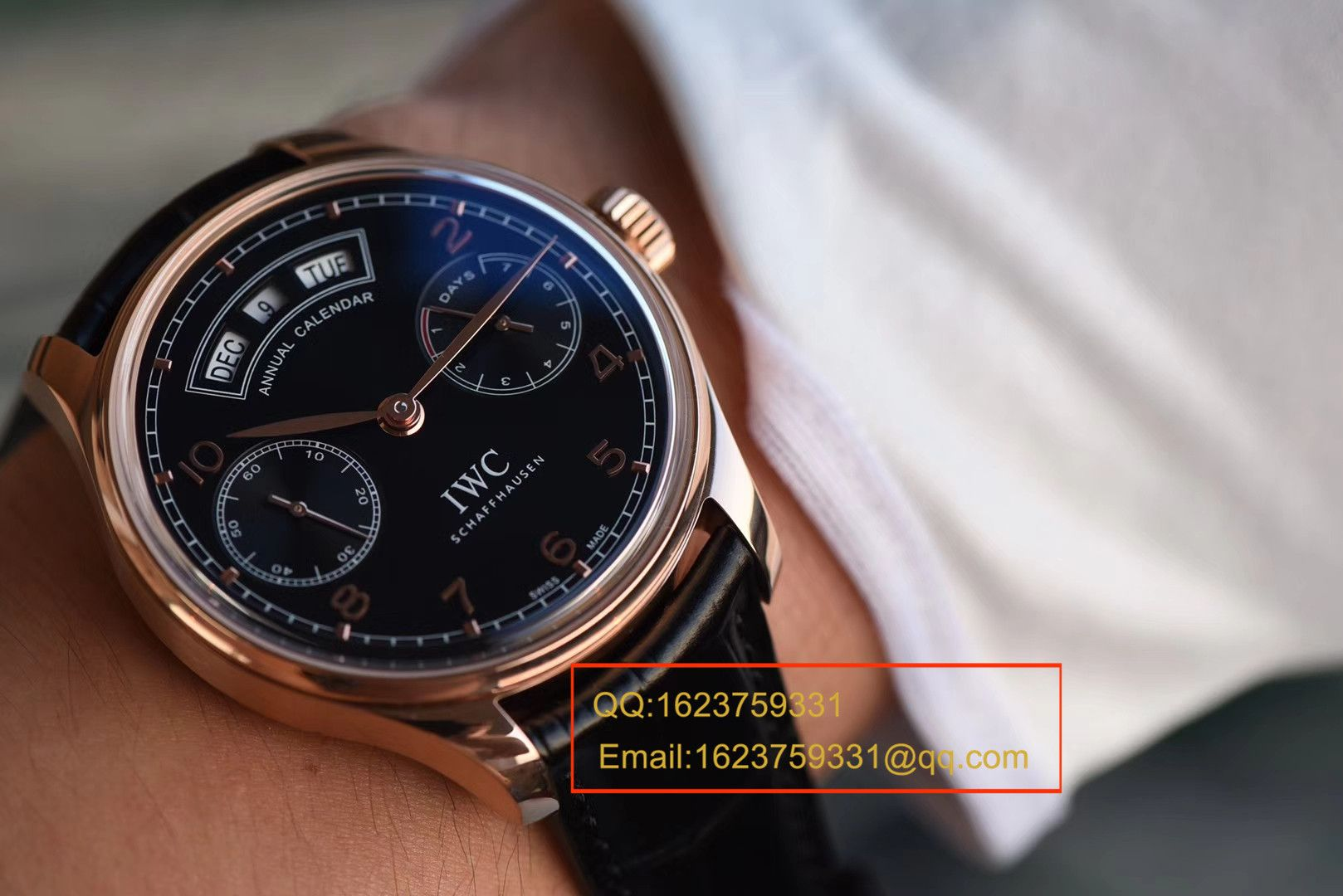 【YL一比一超A高仿手表】万国葡萄牙年历腕表万国年历玫瑰金黑面款 / WG125