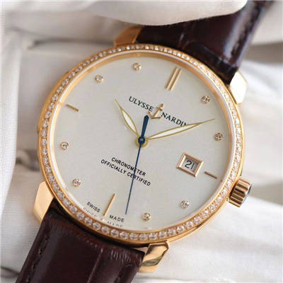 【FK一比一超A高仿手表】雅典鎏金系列8156-111-2/92 表圈镶钻腕表