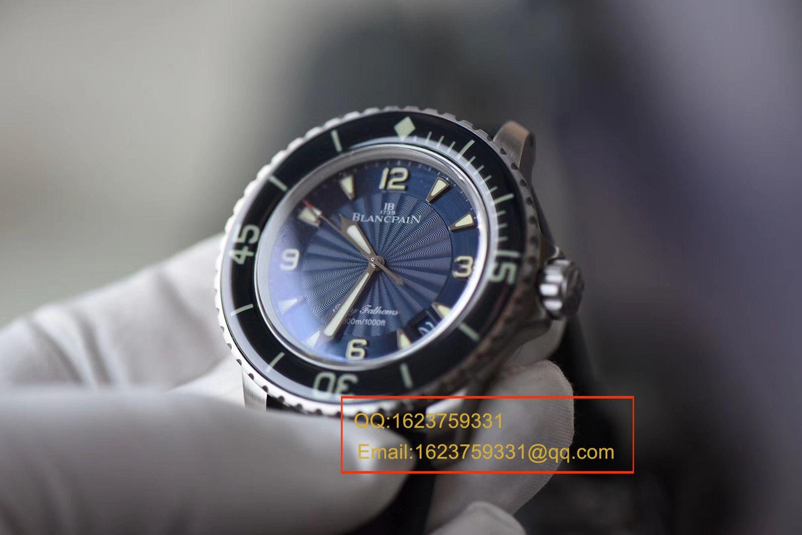 【视频评测ZF一比一超A高仿手表】宝珀Blancpain 五十噚超薄机芯系列 5015D-1140-52B蓝面腕表