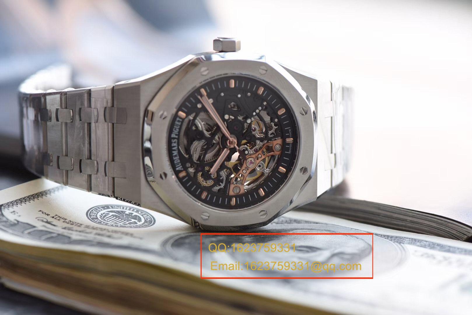 【视频评测JF一比一超A高仿手表】爱彼皇家橡树双摆轮镂空系列15407ST.OO.1220ST.01腕表