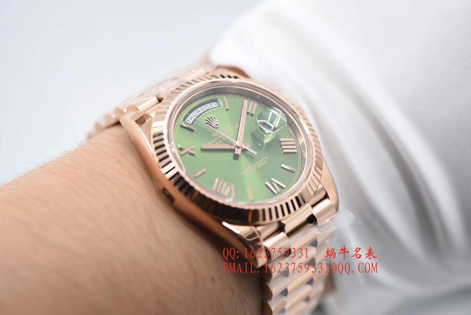 【独家视频评测N厂超A一比一高仿手表】劳力士day date星期日历型系列228235绿盘腕表 / RBE165