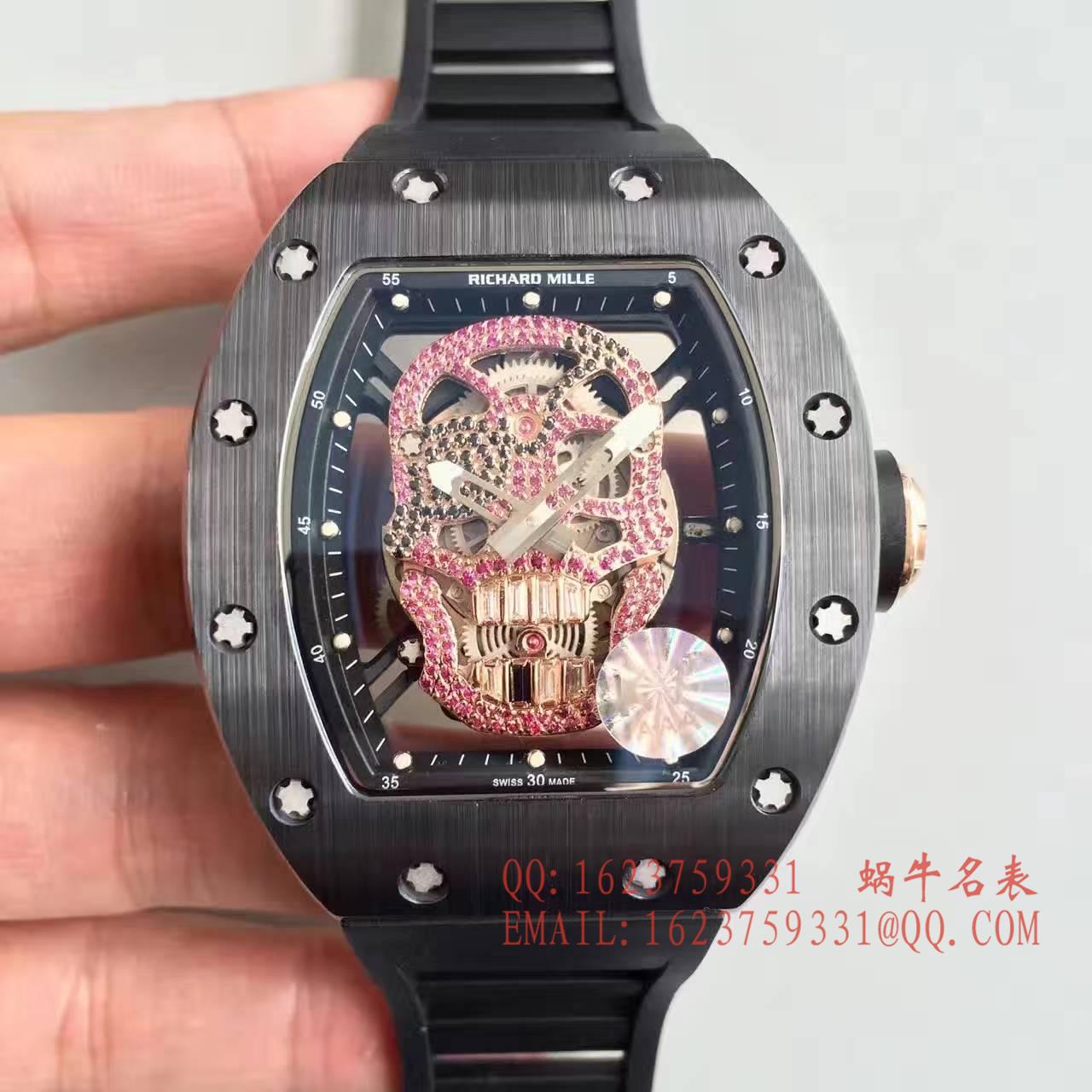 【视频解析】1:1超A精仿KV出品顶级版理查德米勒骷髅头RM 52系列手表 / R007