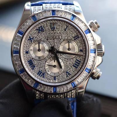 【台湾厂一比一复刻手表】劳力士宇宙计型迪通拿系列116599 12sa密镶钻表面配蓝珐琅罗马数字腕表