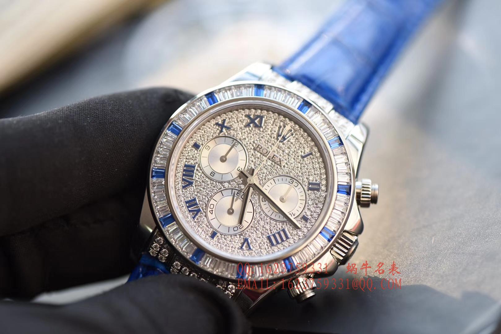 【台湾厂一比一复刻手表】劳力士宇宙计型迪通拿系列116599 12sa密镶钻表面配蓝珐琅罗马数字腕表 / RBD201