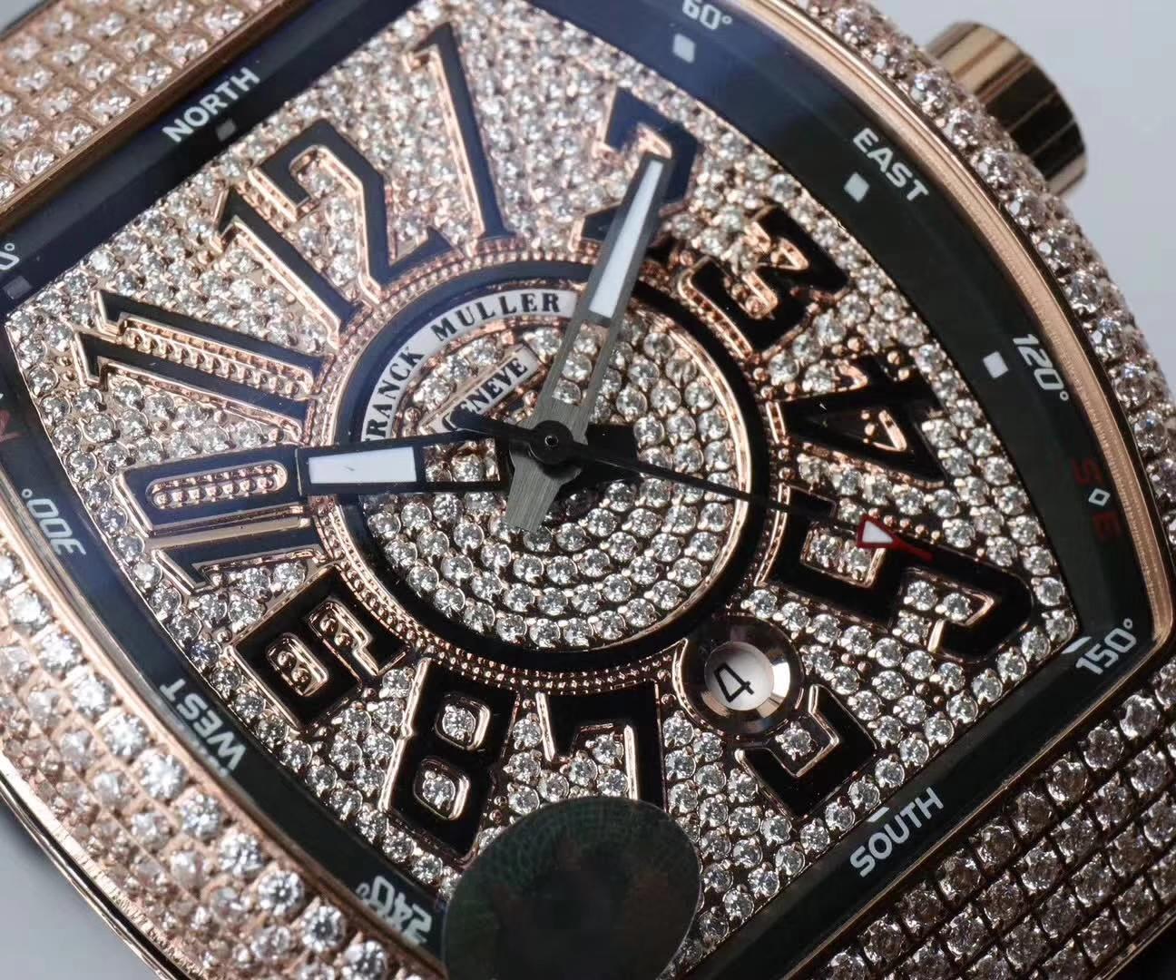 【FM顶级复刻手表】法兰克穆勒VANGUARD系列Vanguard Lady 白金钻石腕錶腕表 / 法穆兰FL013