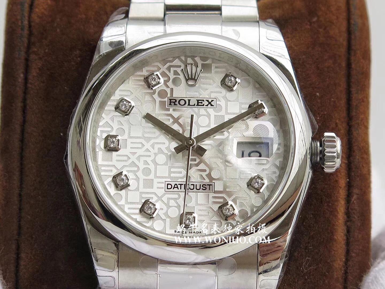 【DJ一比一超A高仿手表】劳力士日志型系列116238 钻石时标 花纹表盘女士腕表 / R086