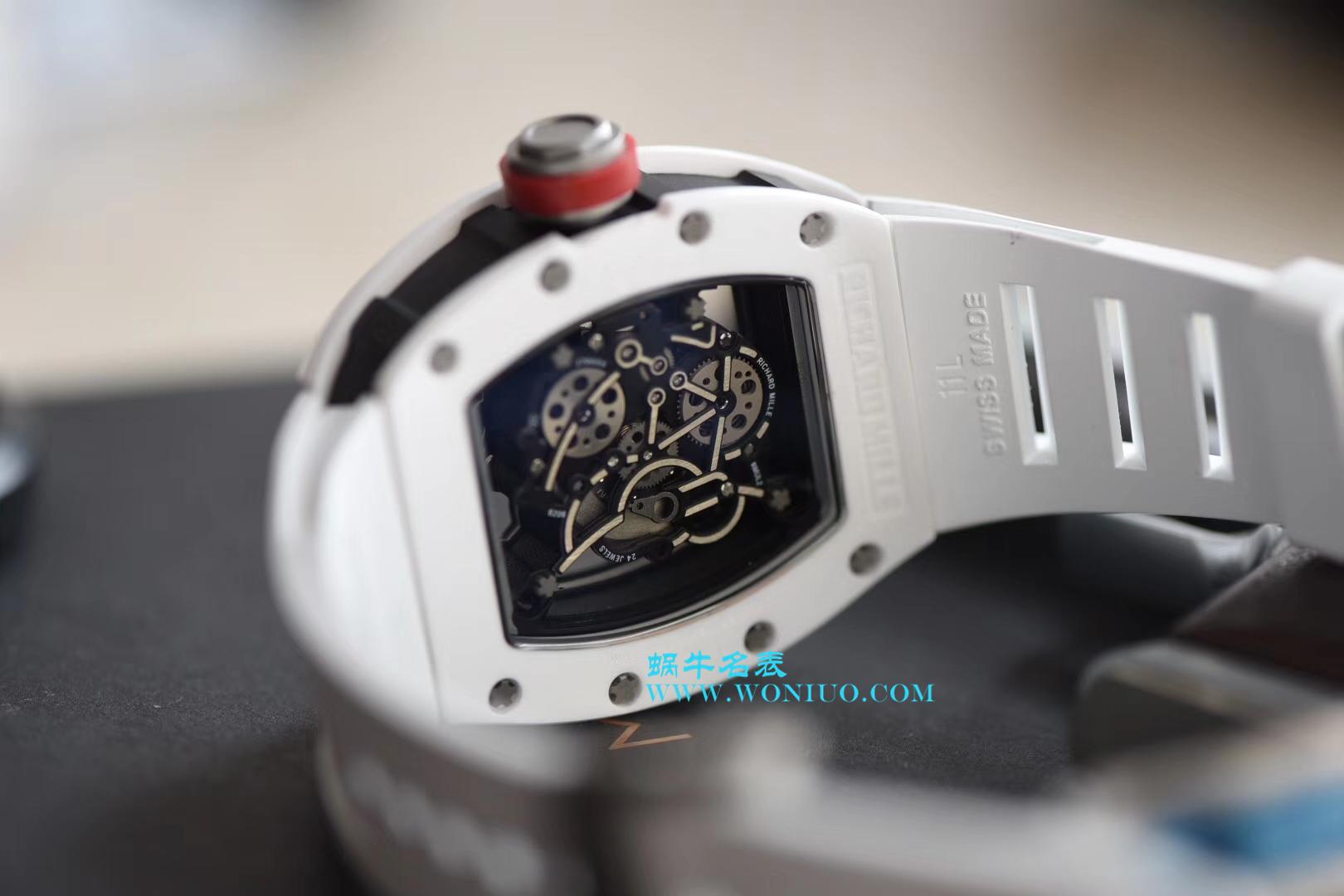 【KV厂顶级复刻手表】理查德.米勒RICHARD MILLE男士系列RM 055白陶瓷白色橡胶带新款腕表 / RM 055D
