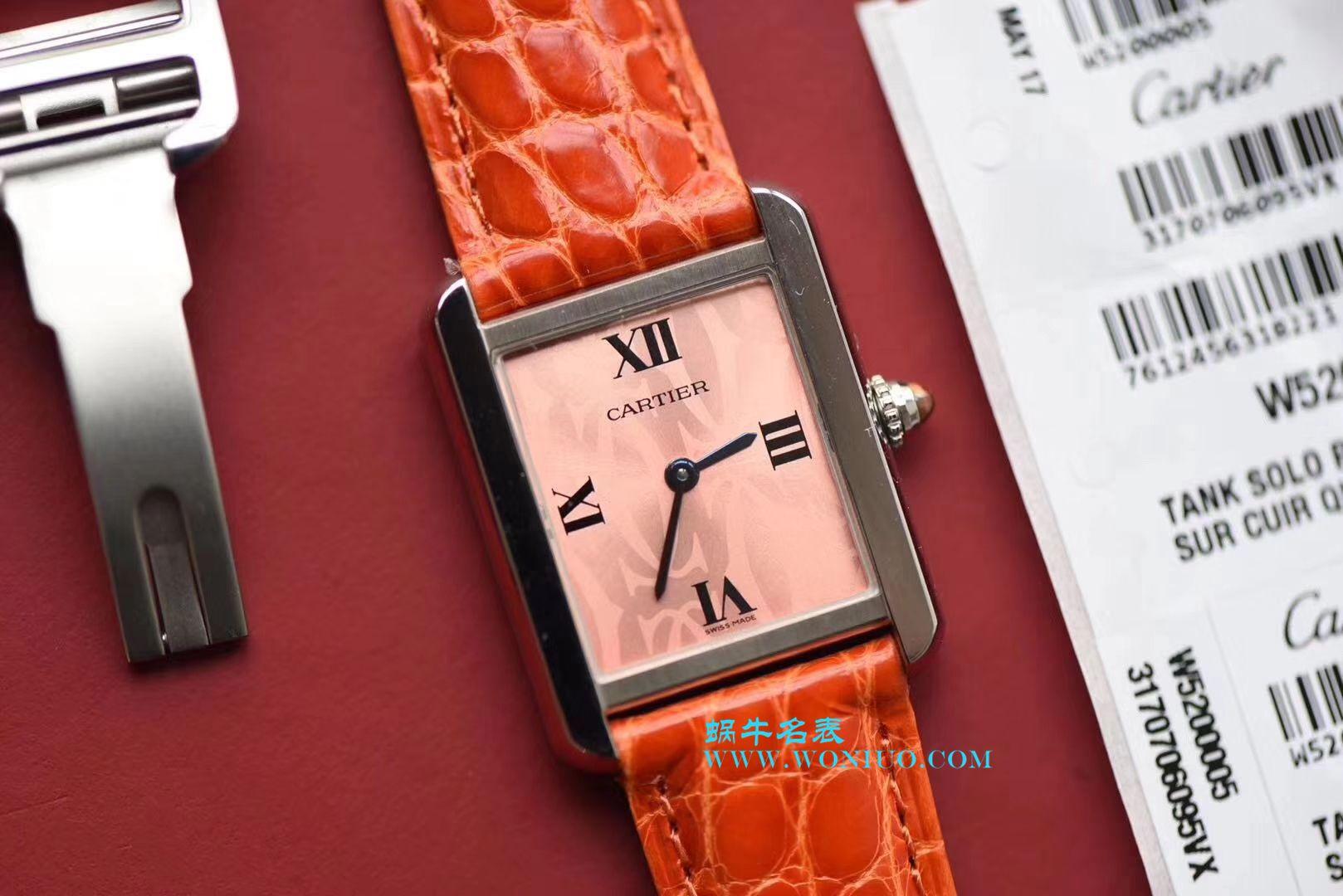 【独家视频测评K11厂顶级复刻手表】卡地亚坦克系列 W5200000 粉色女士石英腕表 / KAD008