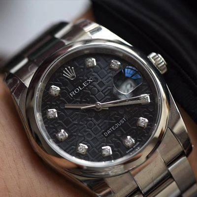 【DJ一比一超A高仿手表】劳力士36日志型系列116234黑纪念花纹盘镶钻腕表价格报价