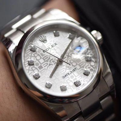 【DJ一比一超A高仿手表】劳力士36日志型系列116234白纪念花纹盘镶钻腕表