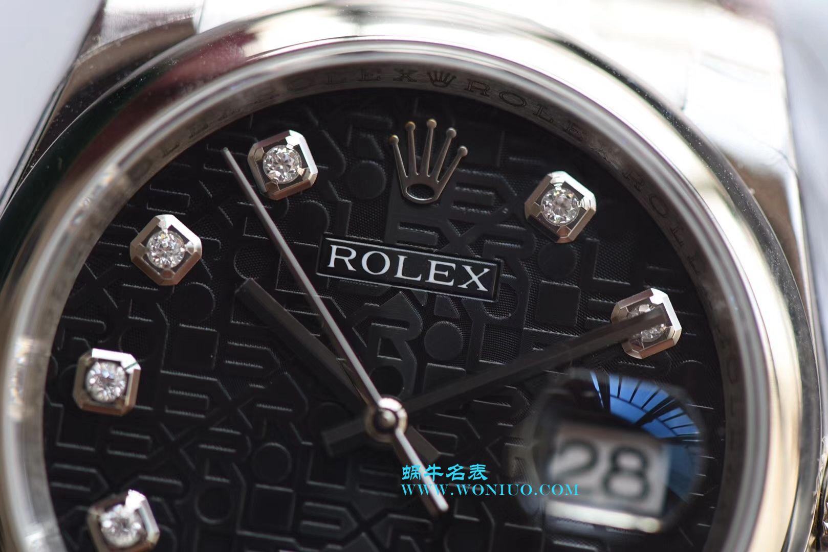 【DJ一比一超A高仿手表】劳力士36日志型系列116234黑纪念花纹盘镶钻腕表 / R211