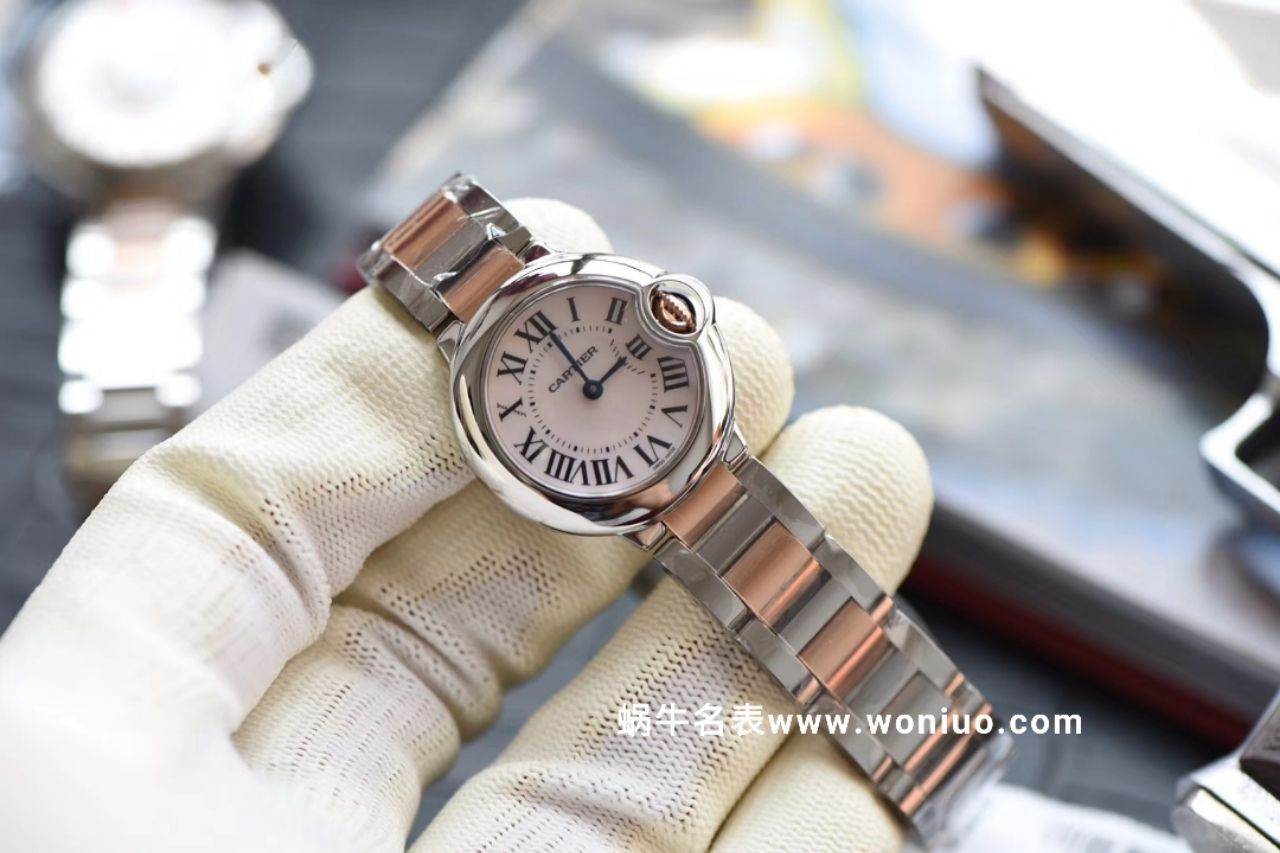 V6厂卡地亚新品蓝气球 28mm间玫瑰金 天然贝母表面 女士石英腕表