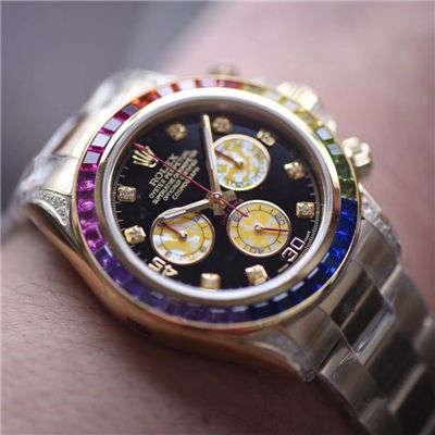 【台湾厂顶级克隆手表】劳力士宇宙计型彩虹迪通拿系列116595 RBOW腕表