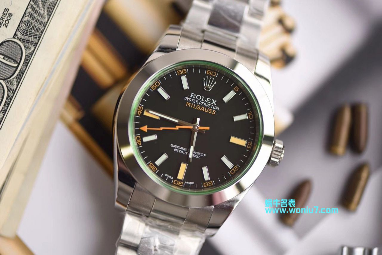 【DJ顶级顶级克隆手表】劳力士MILGAUSS系列116400-GV-72400黑盘腕表(绿玻璃闪电) / R247