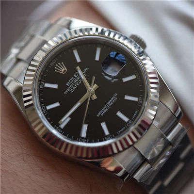 【AR厂顶级复刻手表】劳力士日志型系列116334-黑盘腕表
