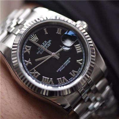劳力士日志型系列116234-63200黑罗马盘腕表【AR克隆手表】