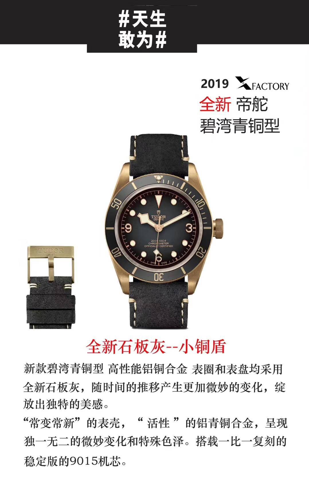 帝舵碧湾系列M79250BA-0001腕表一比一超A精仿手表【XF新品首发:贝克汉姆同款-最新帝驼碧湾青铜型-小铜盾】 / DT033