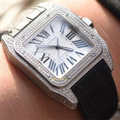 【视频评测】卡地亚山度士系列W20106X8腕表,V6厂一比一超A高仿顶级满钻款SANTOS 100后镶钻价格报价