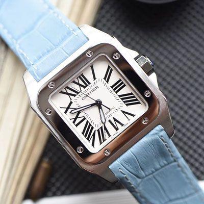 【视频评测】CARTIER卡地亚山度士W20106X8机械女士腕表(V6一比一超A精仿搭配蓝色表带)价格报价