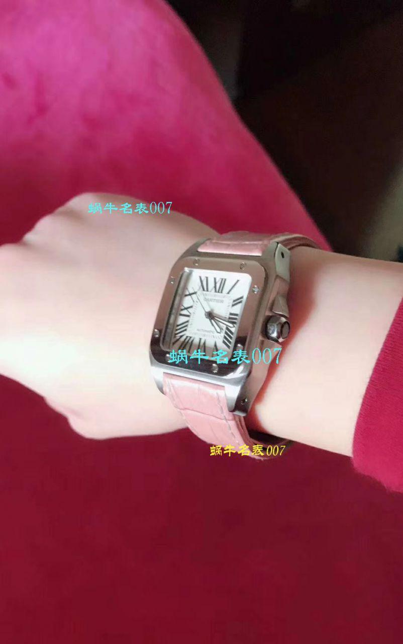 【视频评测】CARTIER卡地亚山度士W20106X8机械女士腕表(V6一比一超A精仿搭配蓝色表带) / K216