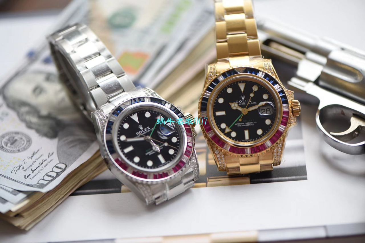 【LF厂一比一超A高仿手表】劳力士格林尼治型II彩虹钻系列116758 SAru-78208腕表