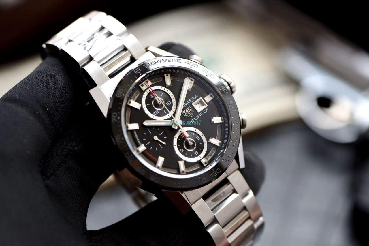 XF厂超A高仿手表黑面旋风泰格豪雅卡莱拉系列CAR201Z.BA0714腕表